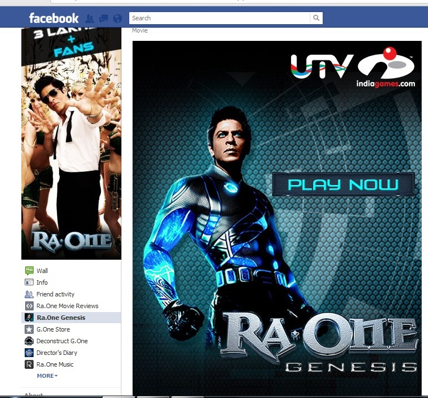 ra.one, facebook page, shahrukh khan, movie marketing, SRK