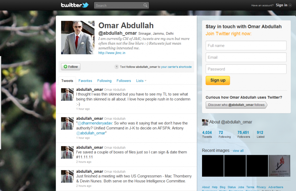 Social Media & Politics: Omar Abdullah's social media activity on Twitter.