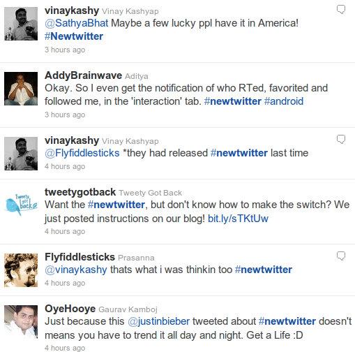 Tweets on #NewTwitter