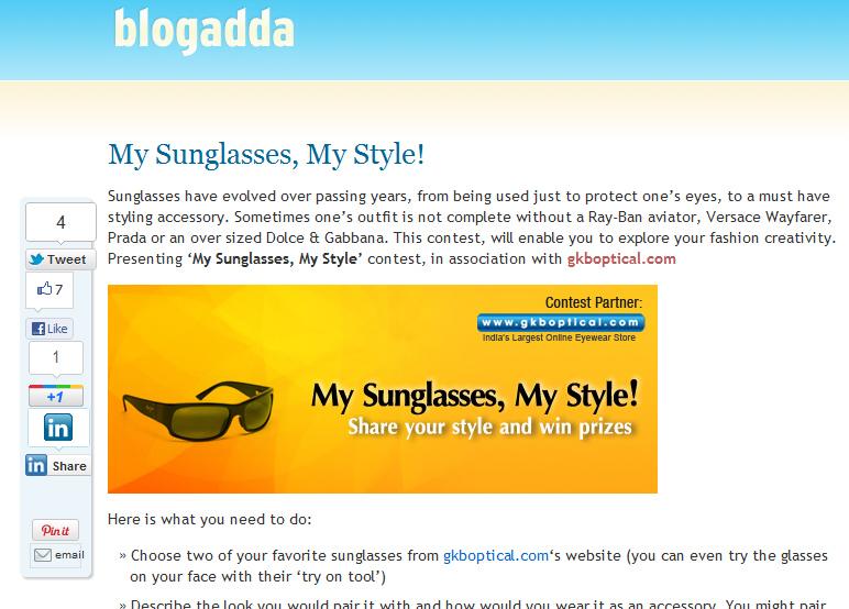 Blogadda GKB Optical Blogger Campaign