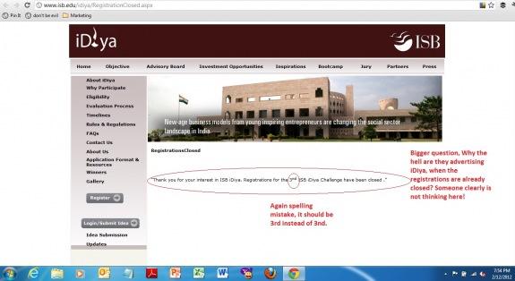 ISB Website, Copy Errors