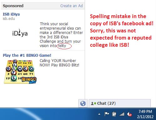 ISB, Facebook AD