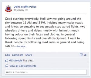 Delhi Traffic Police FB page