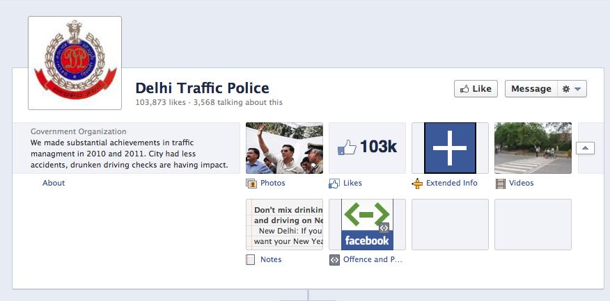 Delhi Traffic Police Facebook Page Cover