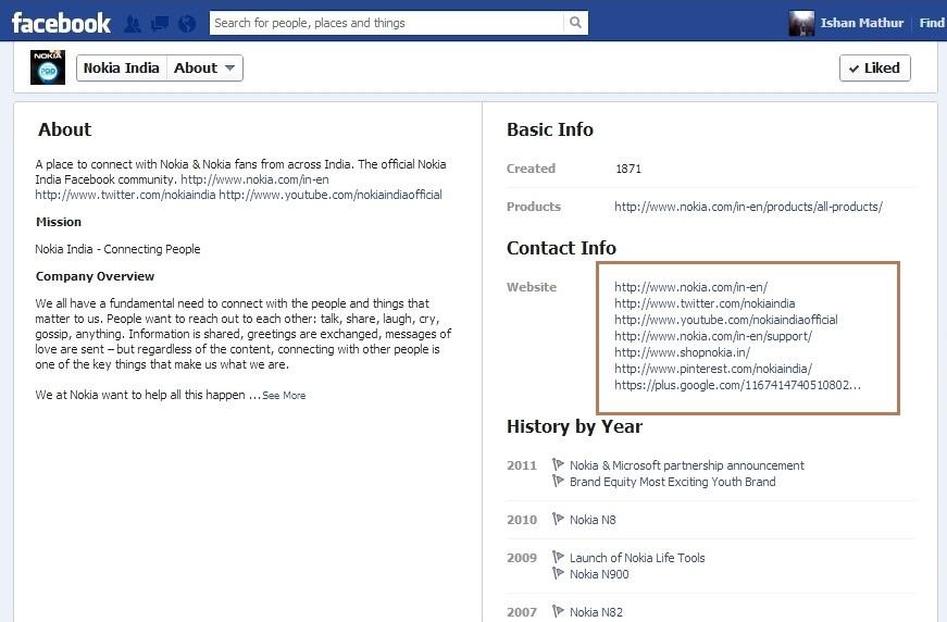Facebook page nokia