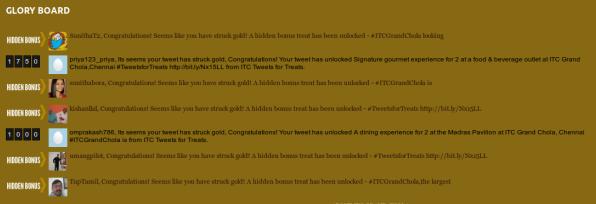 tweet for treats - glory board
