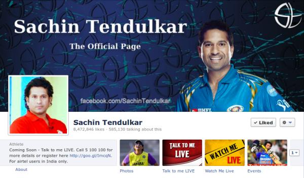 Sachin Tendulkar Facebook Page