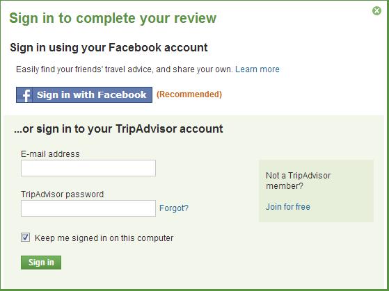 TripAdvisor fb login