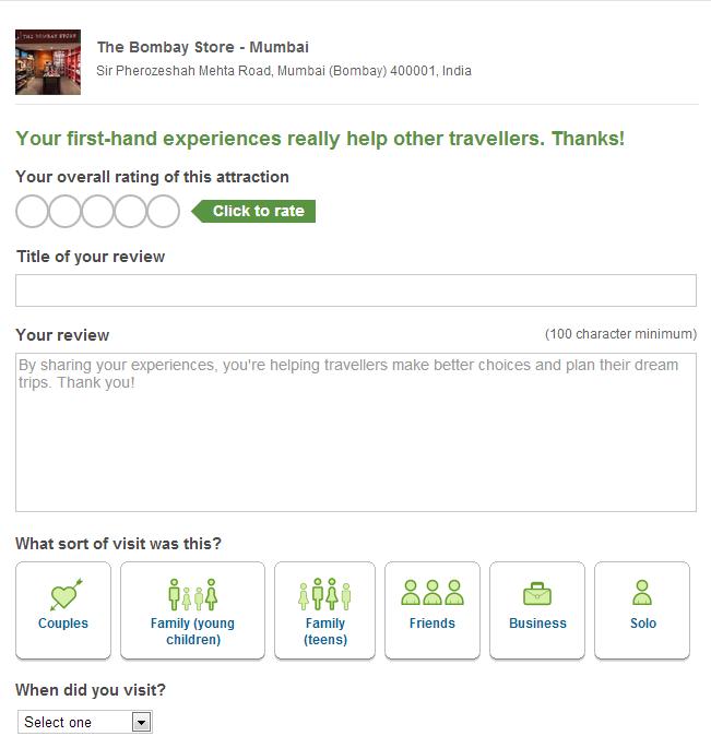 Write a review TripAdvisor