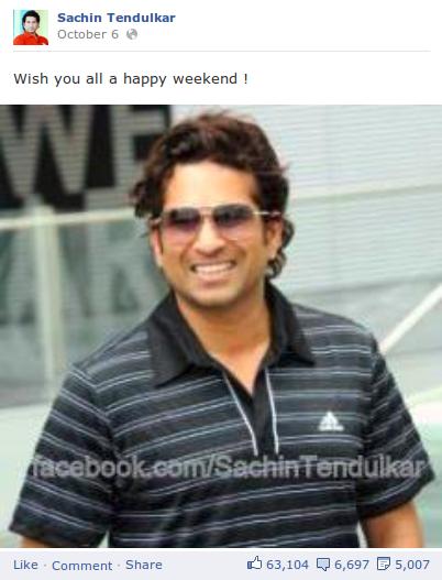 sachin facebook page updates