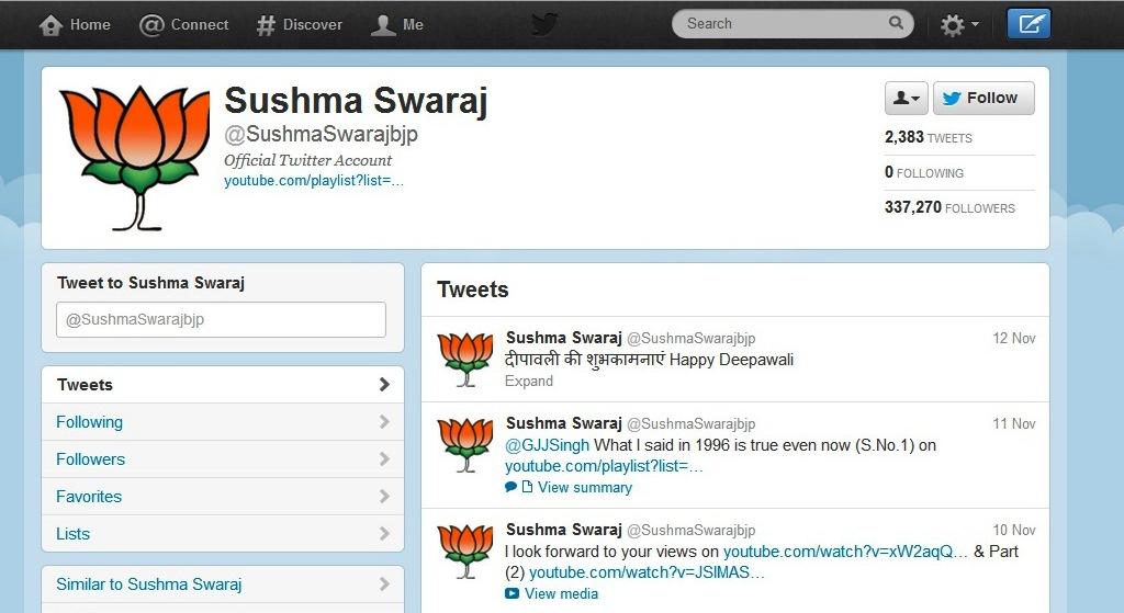 Sushma Swaraj Twitter Account