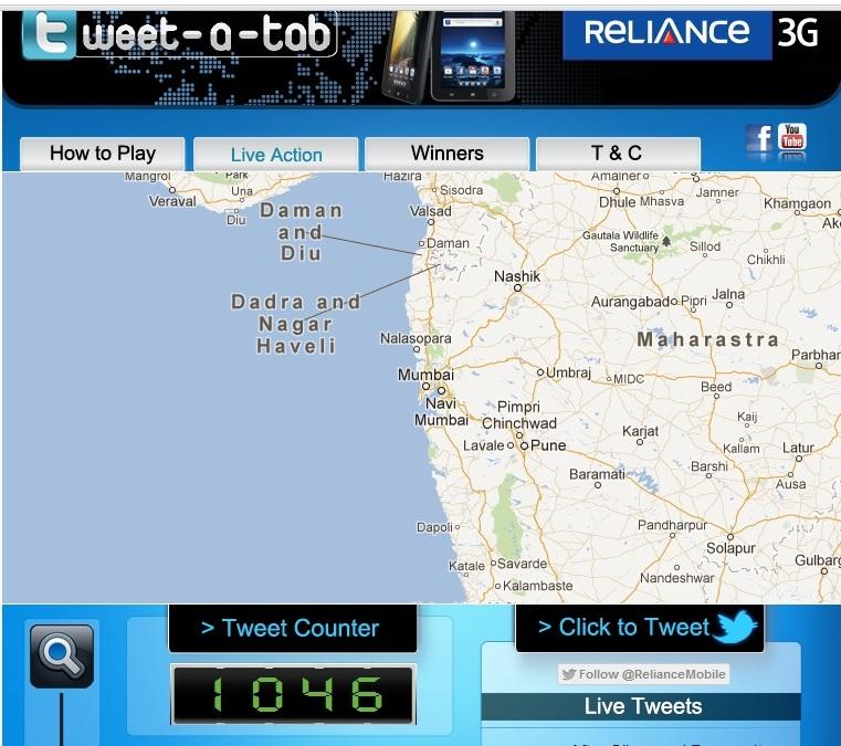 Reliance 3G Tweet-a-Tab contest
