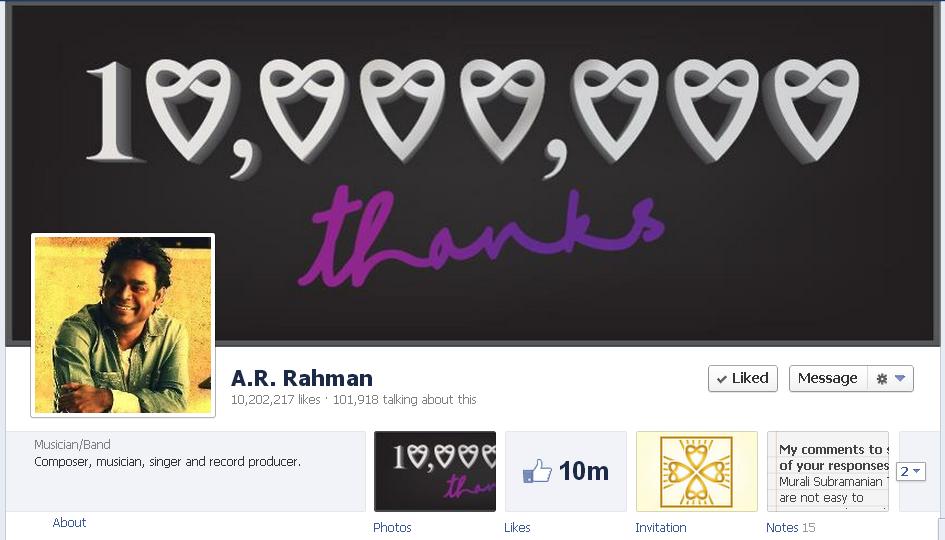 A.R Rahman 1 million fans