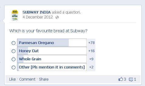 SUBWAY INDIA social media