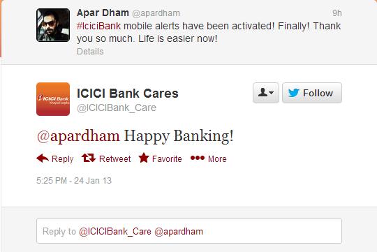 Twitter - ICICIBank_Care- @apardham Happy Banking!
