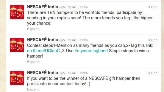 nescafe tag campaign, Coffee brand tag campaign, Coffee brand Twitter Campaign