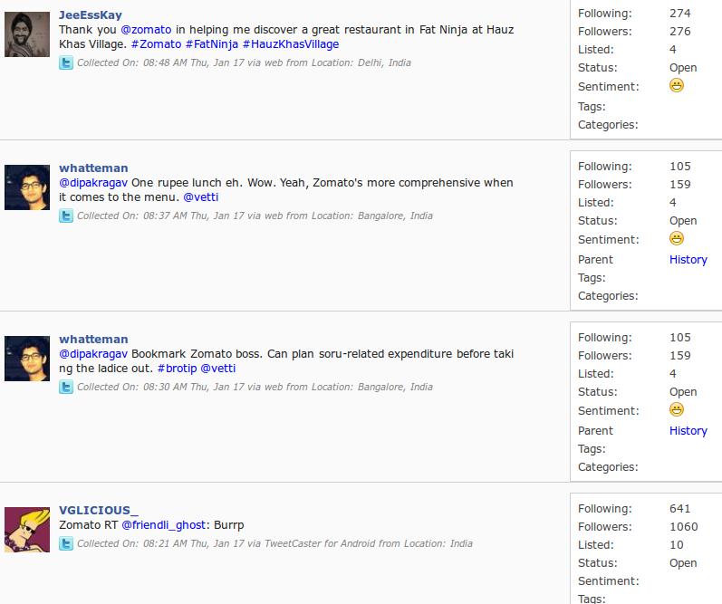 Zomato Twitter conversations Simplify 360