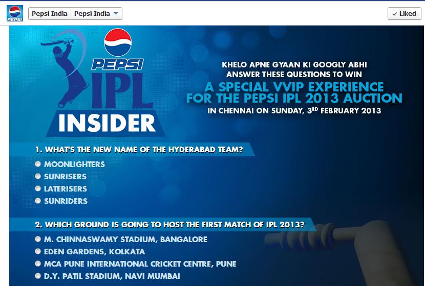 Pepsi Insider contest IPL 2013 Auctions
