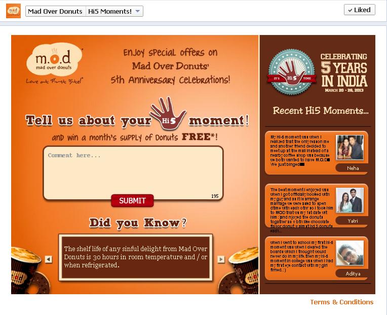 Social Media Campaign Review: Mad Over Donuts Hi5 moments fb