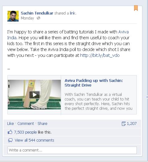 Sachin Tendulkar Facebook