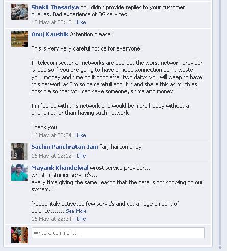 Idea Cellular Facebook page