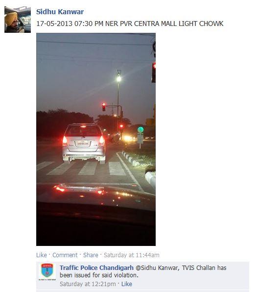 Chandigarh Traffic Police Tracks Traffic Violators through Facebook