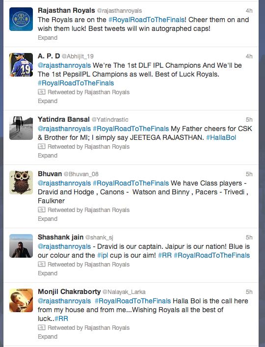Rajasthan Royals Twitter Active stream