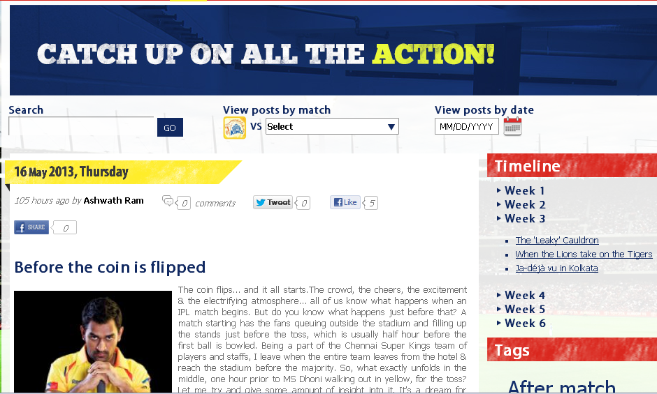 Aircel All Access to CSK blog