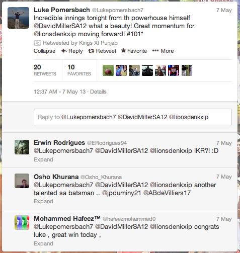 Kings XI Punjab Twitter Miller-tweet