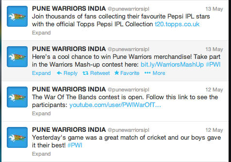 Pune Warriors Twitter Tweet-poor copy