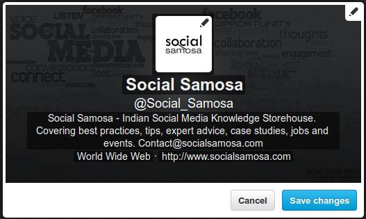 Social Samosa Twitter Profile Inline Editing