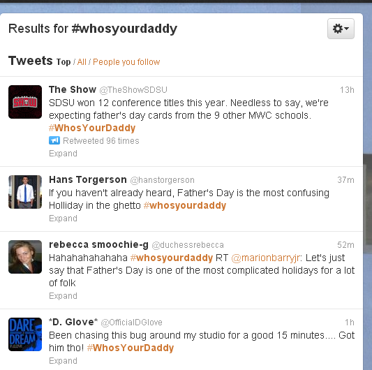 Twitter - Search - #whosyourdaddy
