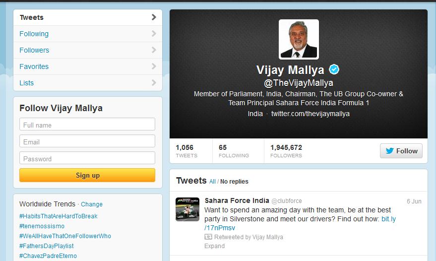Vijay Mallya Twitter Profile