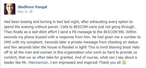 bescom Manivannam Facebook bangalore electricity board