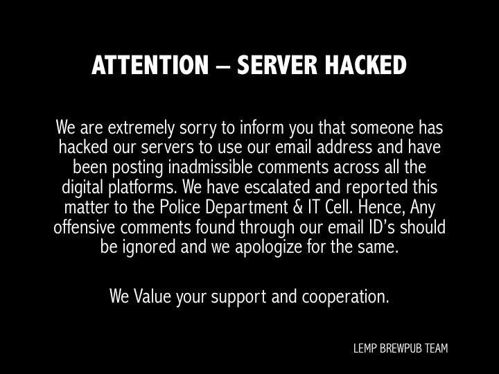 Lemp Brew Pub Hacked