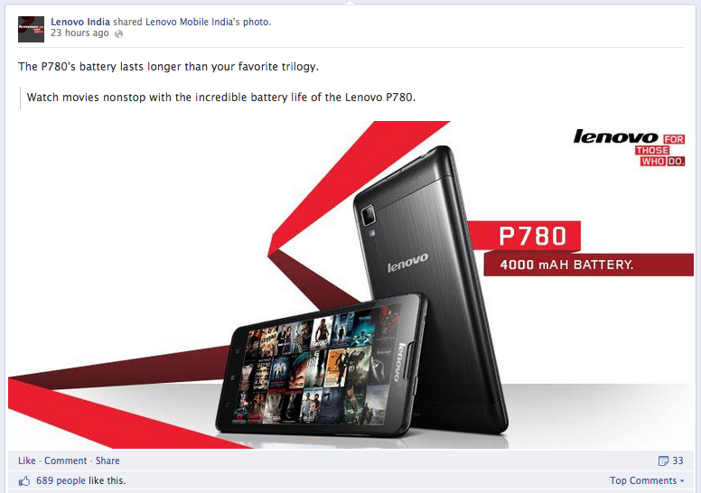 Lenovo India Facebook Post