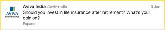Aviva Life Insurance Twitter tweet