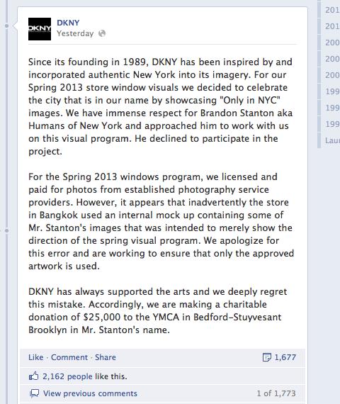 DKNY Facebook post response