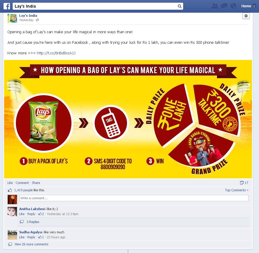 Lays India Facebook post
