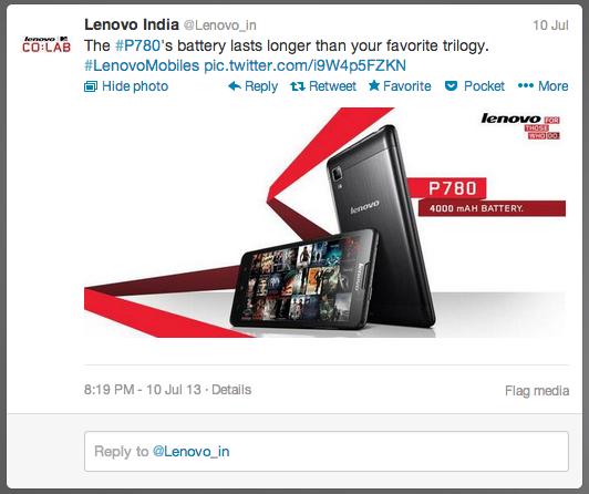 Lenovo India Twitter Tweet