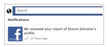 Facebook support dashboard Notification