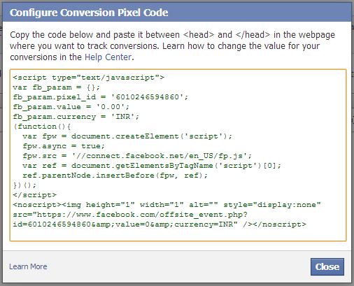 facebook conversation Pixel code