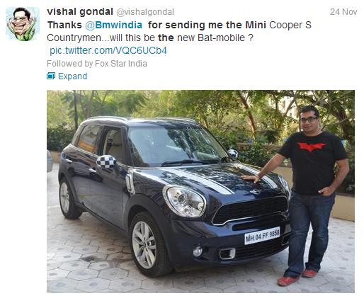 Vishal Gonal BMW Tweet