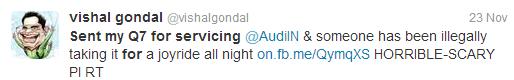 Vishal Gondal Audi Q7 Tweet
