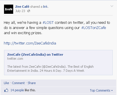 Zee Café twitter contest announcement