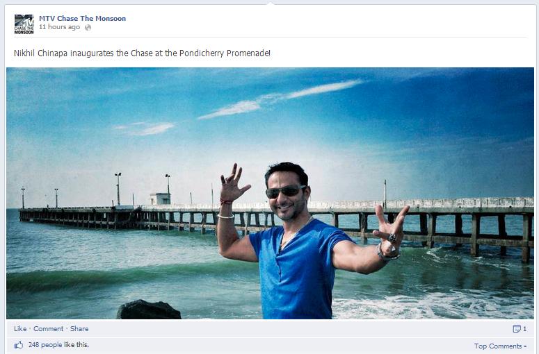 ceat mtv chase the monsoon facebook post nikhil chinapa