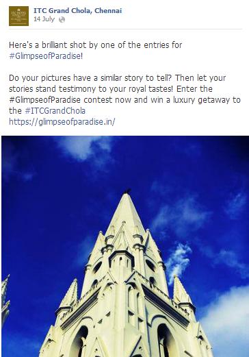 ITC Grand Chola Facebook contest
