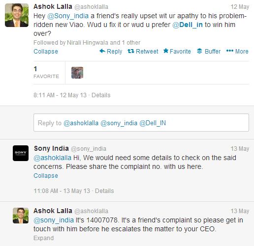 Ashok Lalla sony india tweet
