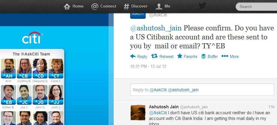 Citibank India Tweet