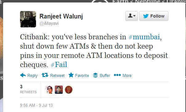 Tweet Citibank India